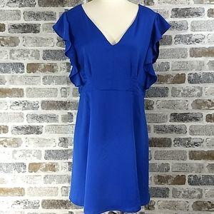 Daytrip blue v neck dress, size L